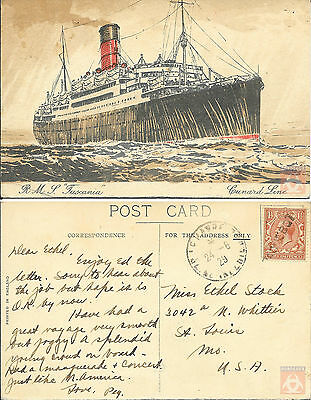 Angleterre - Carte Postale PAQUEBOT - TUSCANIA - Posted at Sea 1929 - Le Havre