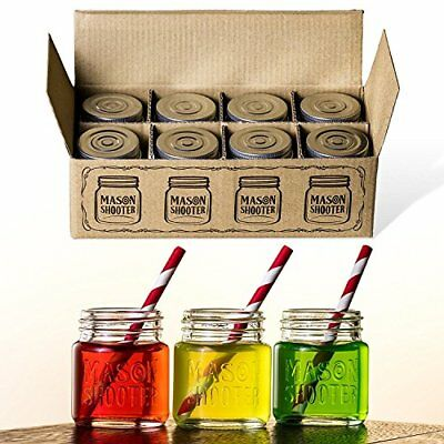 Hayley Cherie - Mason Jar Shot Glasses with Lids (Set of 8) - Mini Mason