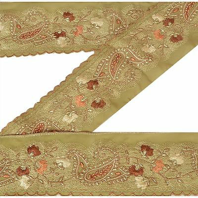 Vintage Sari Border Antique Embroidered 1 YD Indian Trim Sewing Green Lace