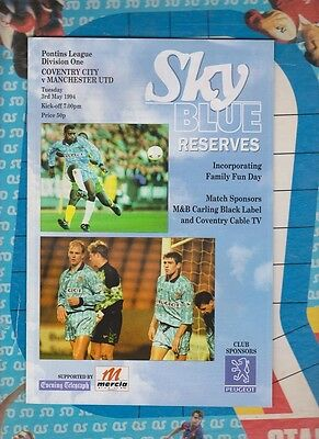 Coventry City v Manchester United Reserves Original Authentic Programme 93/94