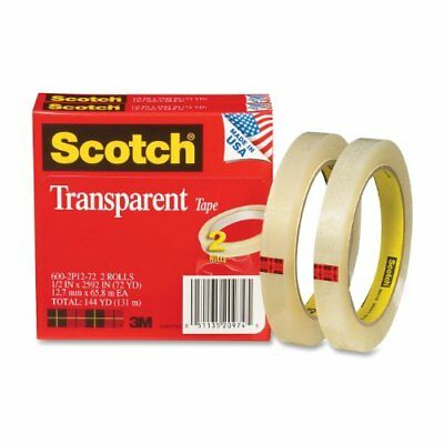 Scotch Transparent Tape, 1/2 x 2592 Inches, 3 Inch Core, 2 Rolls (600-2P12-72)