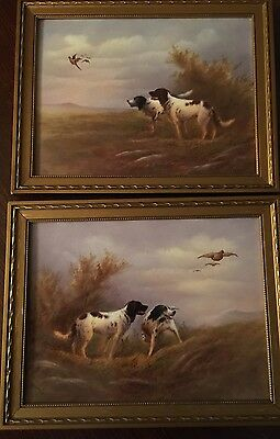 Antique PAIR Crown Devon Painted Tile Hunting Dogs W.Lamonby Circa 1914 Perfect