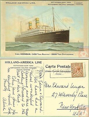 Angleterre - PAQUEBOT - VEENDAM - Posted at Sea 1928 - Plymouth Devon