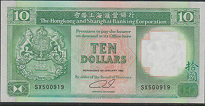 The Hong Kong And Shanghai Banking Corp. $10 Hkd Note Unc 1992
