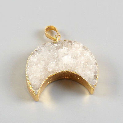 Crescent Gold Plated Natural Agate Druzy Pendant Bead Q91689