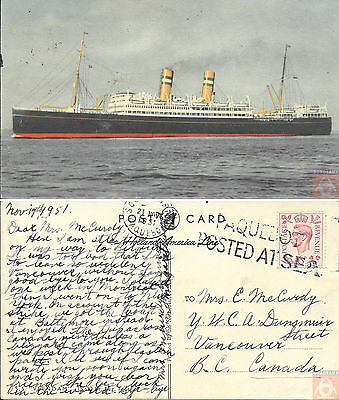 Angleterre - PAQUEBOT - VEENDAM - Posted at Sea 1951 - Southampton