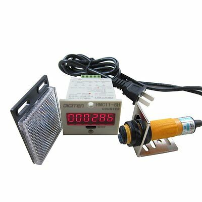 DIGITEN 0-999999 Digital LED Counter +PhotoElectric Switch Sensor +Reflector