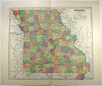 Original 1891 Map of Missouri by Hunt & Eaton
