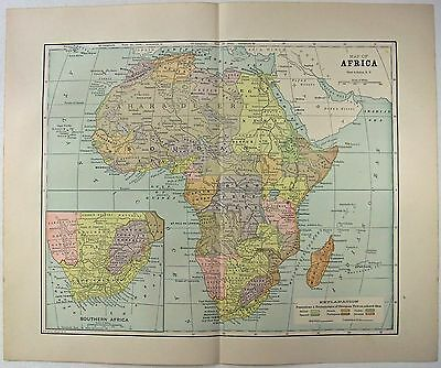 Original 1891 Map of Africa by Hunt & Eaton