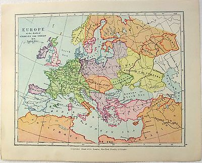 Vintage Longmans Map of Europe in the Year 814