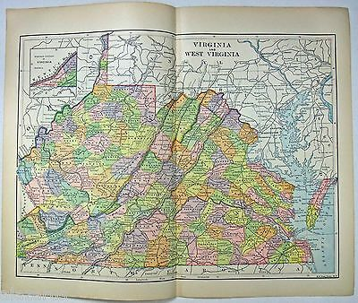 Original 1891 Map of Virginia & West Virginia by Hunt & Eaton