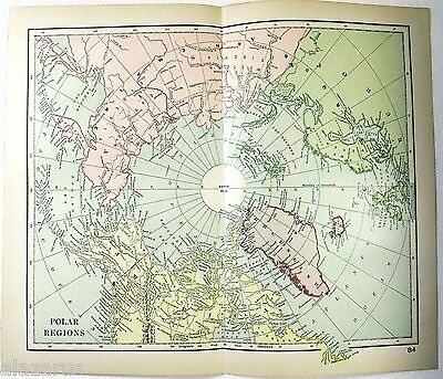 Original 1895 Map of The North Pole. Arctic