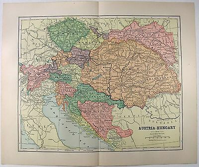 Original 1891 Map of Austria Hungary by Hunt & Eaton