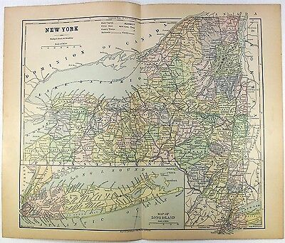 Original 1882 Map of New York by Phillips & Hunt