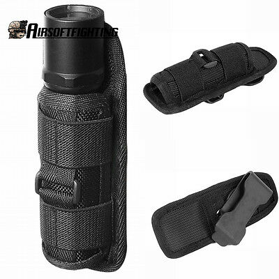 Rotatable Flashlight Belt Clip Nylon 18650 Battery Holster Pouch with 360 Degree
