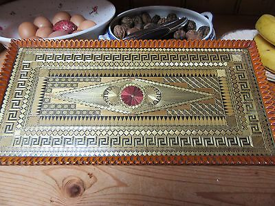 Attractive Vintage Straw Work Marquetry Glass Topped Wooden Serving Drinks Tray