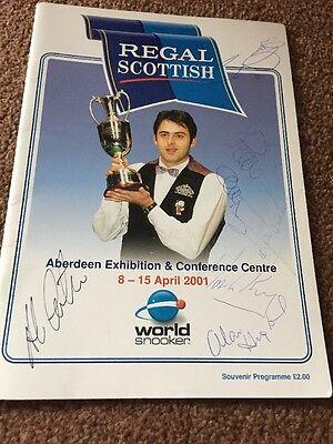snooker programme Signed By 13 Including Paul Hunter