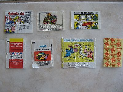 1970's Mixed Chappies La Giulia tchaw Donald Bazooka Joe Bubble Gum wrappers