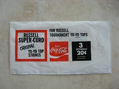 Russell Super Cord Coca Cola yo-yo top string packet only, no contents