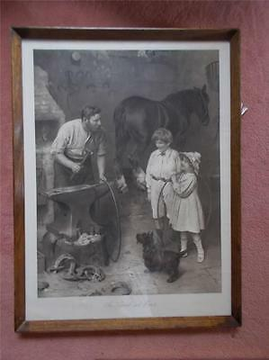 Vtg 1912 Signed Advertising BOVRIL Print Blacksmith Hula Hoop Toy Children Horse