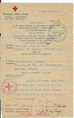 Red Cross Message from Guernsey to Chester 22.08.1942 Channel Islands