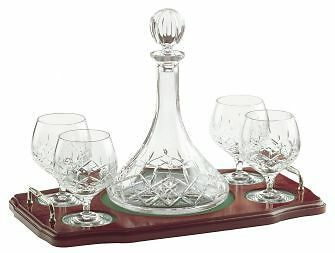 Longford Miniature Brandy Decanter Tray Set Galway Crystal