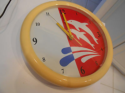 "vintage 1985 harris dolphin clock-vg+ condition-9 3/4"" across"