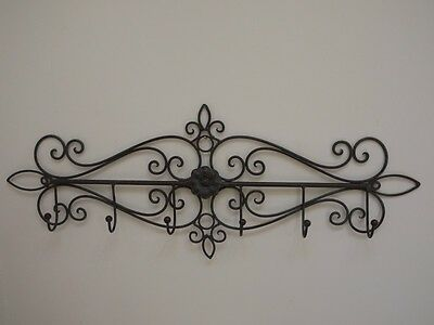 Coat Hook French Vintage Shabby Chic Style Grey Metal Towel Hooks Rail Storages
