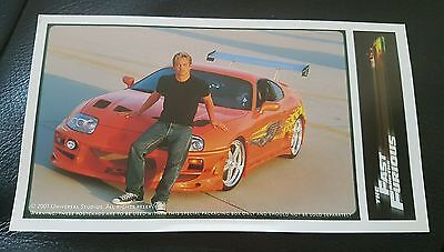 The Fast & The Furious Limited Edition Brian Paul Walker Post Card