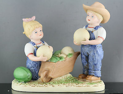 Nicely Made Ceramic Sculpture Of  Two Children Selling Melons Great Condition
