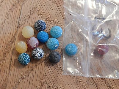 13 X 8Mm Crackle Agate Mixed Colour Round Beads Great Bargain