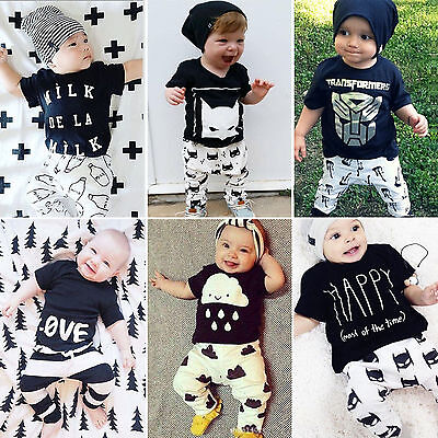 Infant Baby Boy Girl Kids Outfits Clothes T Shirt+Pants Trousers 2PCS Outfit Set