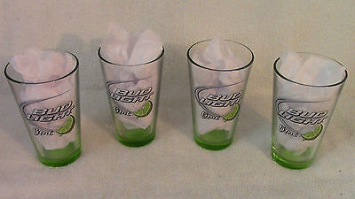4 BUD LIGHT LIME 16oz BEER GLASSES--NEW