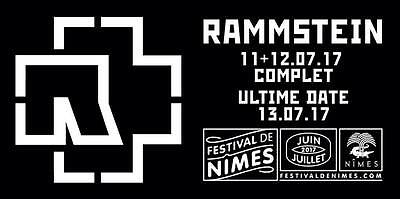 Rammstein E-Ticket Fosse Pitch Cat.3 Concert Arenes Nimes Ultime Date 13/07/2017