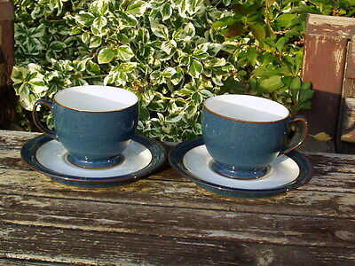 Pair Of 2 Denby Boston Large Breakfast Cups & Saucers