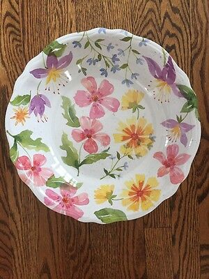 Outdoor Collection Spring Floral MELAMINE Large Serving Bowl Pink Yellow