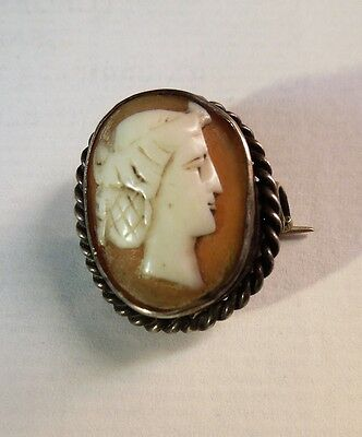 Old Shell Cameo Brooch Traditional Style Portrait of Classical Female, Silver