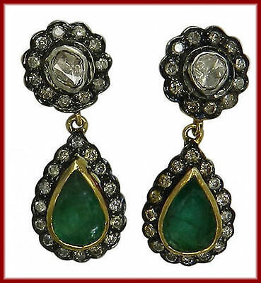 Certified Gorgeous Vintage Inspired 1.28 Ct. Rose Cut Diamond Emerald Earrings