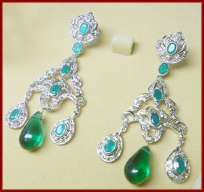 2.85 Ct Rose Cut Diamond Emerald Victorian Antique Look Silver Earrings