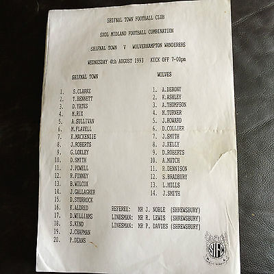 SHIFNAL TOWN v WOLVERHAMPTON WANDERERS  1993-94  PRE-SEASON FRIENDLY
