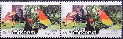 Mexico Conservation Perm Series Hor Pair Rain Forest $5 Frog Parrot Trees MNH