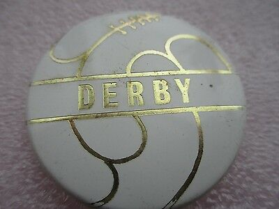 Vintage..derby..derby County Football Club ..white & Gilt..tin Pin Badge