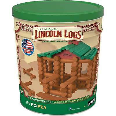 NEW LINCOLN LOGS 100th Anniversary Tin 111pc Real Wood Storage Bin Fort Original