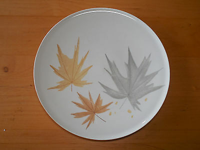 "Iroquois HARVEST TIME Seibel Set of 3 Dinner Plates 10 1/4"" Gray Brown Leaves"