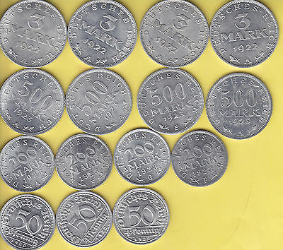 Germany Weimar  nice lot of 15 aluminium coins  UNC................80