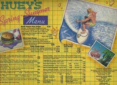 Huey's Spring Summer Menu Placemat  Memphis Tennessee