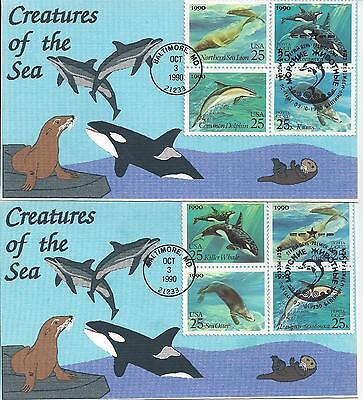 1990 # 2508-2511 Sea Creatures joint issue US Russia Tbear cachet 2 covers