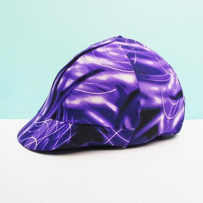 Equestrian Riding Helmet Cover purple black white swirly English Western ca