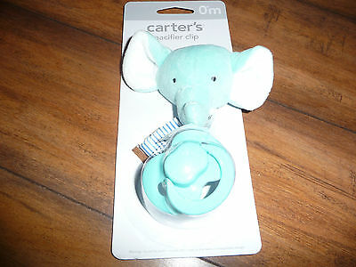 New Carter's Baby Pacifier Clip blue elephant Plush Clip with Ribbon NWT