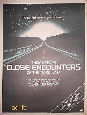 Close Encounters Of The Third Kind, Poster-Size Ad 1978 /advert